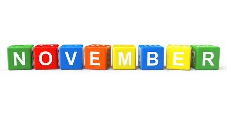 Cubes with November sign on a white background photo