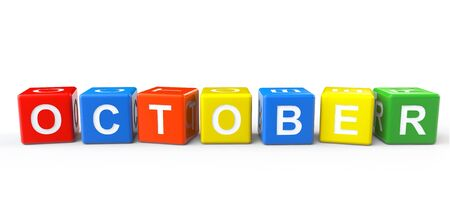 Cubes with October sign on a white background photo