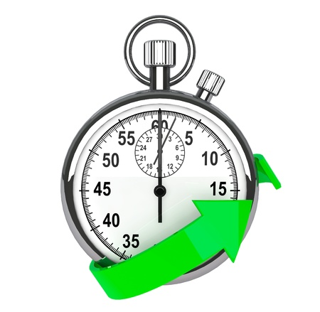 Fast delivery icon  Stopwatch with green arrow on a white background
