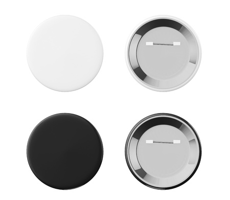 pin: White and Black Badges front and back view on a white background Stock Photo