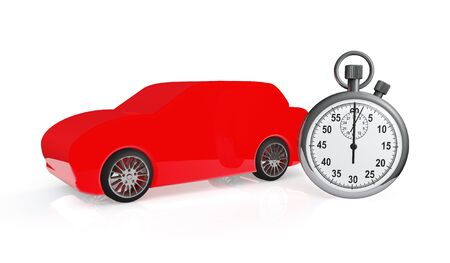 Abstract red car with stopwatch on a white background Stock Photo - 18754515