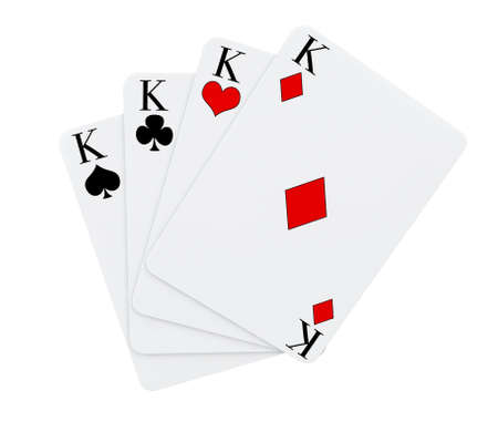 4 of a kind: Four Kings playing cards suits on a white background Stock Photo