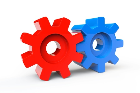 Creativity Concept. Red and Blue gears on a white background