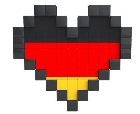 Pixel Heart as Germany Flag on a white background