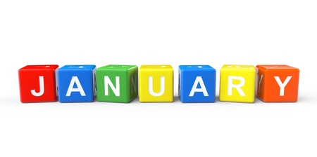 busines: Cubes with January sign on a white background Stock Photo