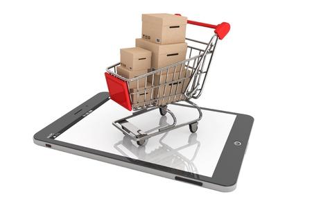 E コマースの概念。白い背景に Tablet PC 上のボックスとショッピングカート