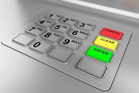 ATM 機のクローズ アップ。金属製のキーボードの詳細。