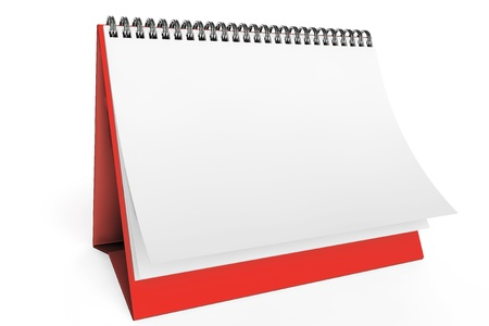 デスク、白い背景で空白のカレンダー