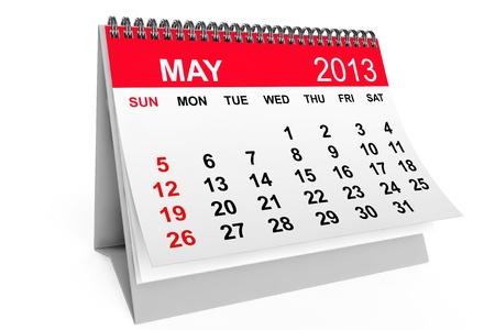 2013 年のカレンダー。白い背景の上の 5 月のカレンダーします。 写真素材