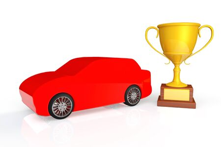 Racing Concept. Red car with gold trophy on a white background Stock Photo - 19117937