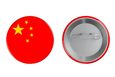 Badges with China flag on a white background photo