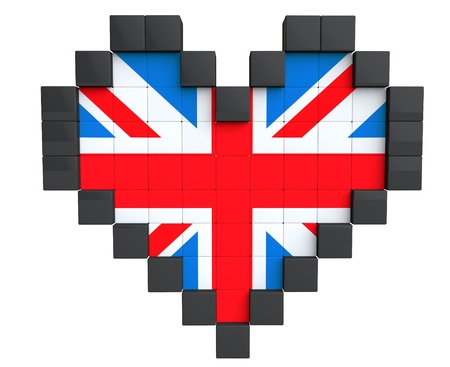 Pixel Heart as United Kingdom Flag on a white background photo