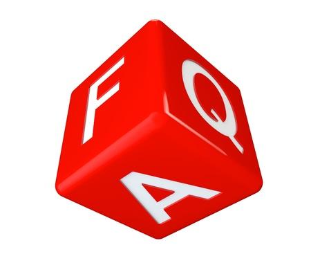 Dice faq icon cube on a white background Stock Photo - 19117903