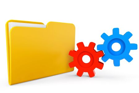 parameter: Folder icon with gear wheels on a white background