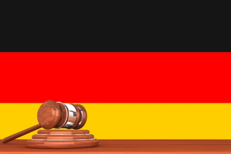 Wooden Justice Gavel with Flag Of Germany