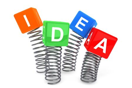 Springs with Idea cubes on a white background Stock Photo - 19117966