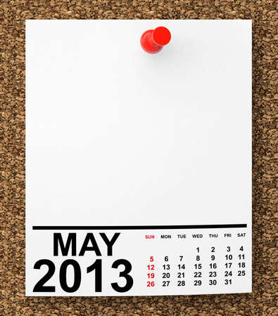 Calendar May 2013 on blank note paper with free space for your text photo