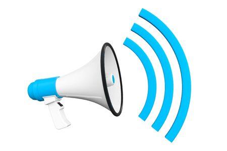 command button: Blue Retro megaphone on a white background Stock Photo