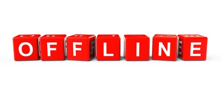 offline: Red Blocks with Offline sign on a white background
