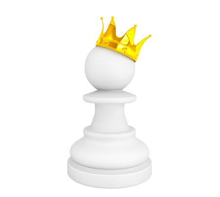 White pawn with a golden crown on a white background photo