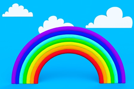 Plasticine rainbow with white clouds on a blue sky Stock Photo - 19117962