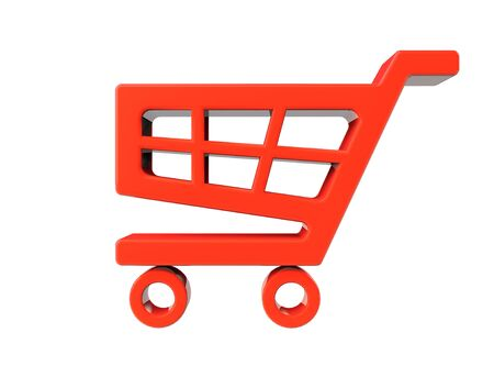 Red Shopping Cart Icon on a white background Stock Photo - 19117910