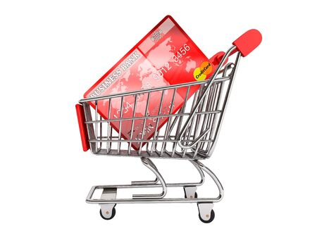 Credit card with Shopping Cart on a white background photo