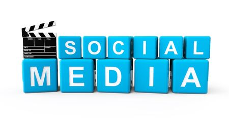 Social Media blocks with clapboard on a white background Stock Photo - 19117931