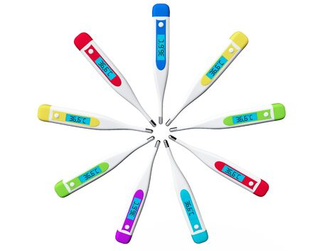 Multicolored Digital clinical thermometers on a white background photo