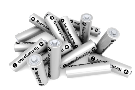 Pile of rechargeable batteries on a white background Stock Photo - 19424211