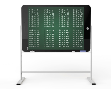 E-learning concept. Tablet PC as blackboard stand with multiplication table on a white background photo