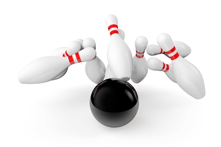 knock out: Bowling Ball crashing into the pins on a white background