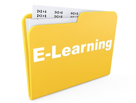 E-learning concept. Yellow folder with papers on a white background photo