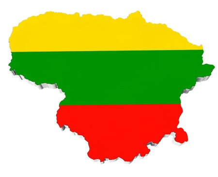 Map of Lithuania in Lithuania flag colors on a white background Stock Photo - 19424217