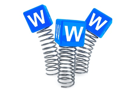 Springs with WWW cubes on a white background Stock Photo - 19424270