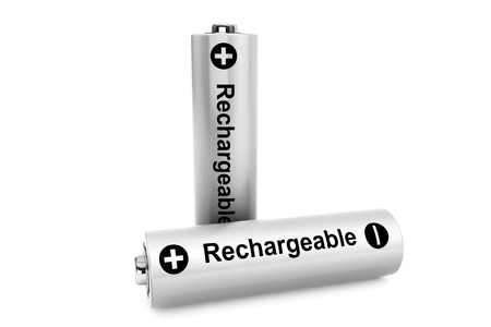 accu: Alternative energy source concept. Two batteries on a white background Stock Photo