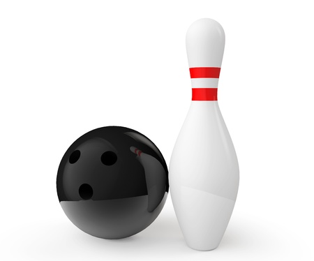 Bowling ball and pin on a white background photo