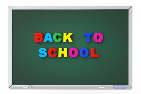 School blackboard with back to school sign on a white background photo
