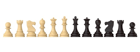 Chess figures set on a white background