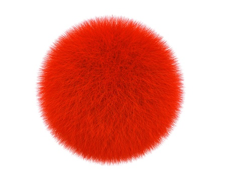 Red fur ball isolated on a white background