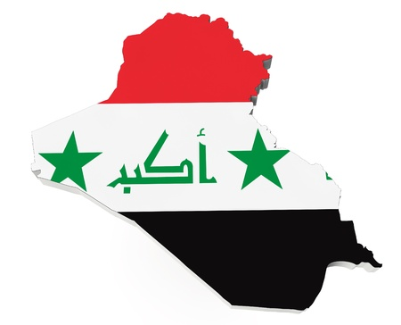Map of Iraq in Iraq flag colors on a white background Stock Photo - 19723432
