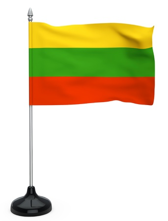 flagpole: Flag of Lithuania hanging on the flagpole on a white background