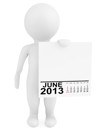 Character holding calendar June 2013 on a white background photo