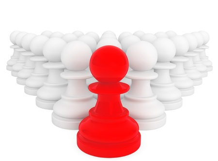 strategic position: Leadership Concept. Red pawn in front of white pawns on a white background