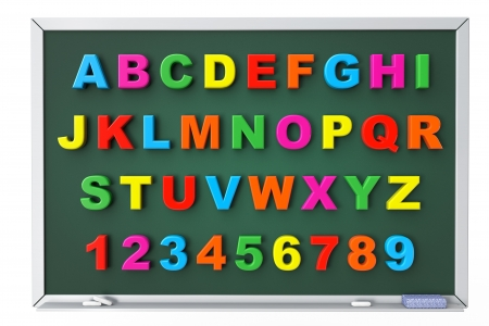 Alphabet Toy magnetic letters over blackboard on a white background