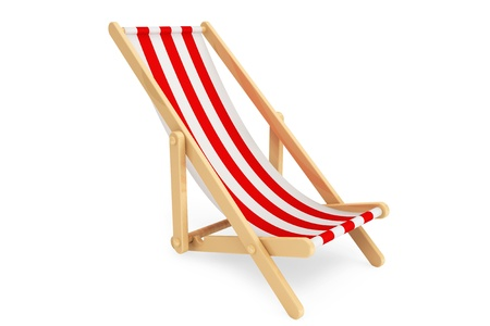 reclining chair: 3d beach chair on a white background