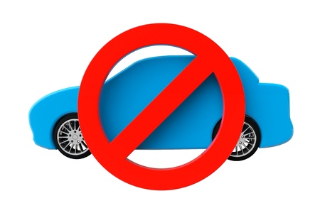 No cars allowed concept. Car with not allowed symbol on a white background photo