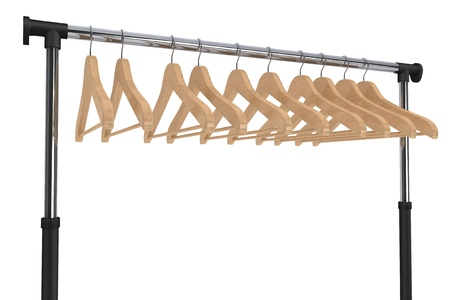 Mobile black coat rack with hangers on a white background photo