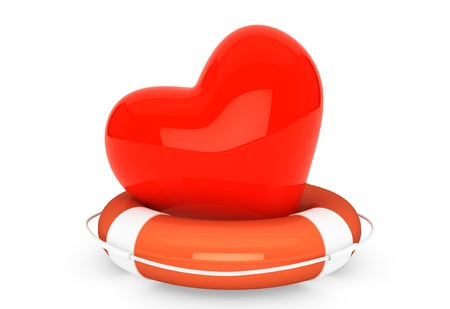 Life Buoy for the heart on a white background photo