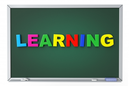 School blackboard with Learning sign on a white background photo